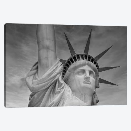 New York City Statue Of Liberty | Monochrome Canvas Print #MEV601} by Melanie Viola Canvas Wall Art