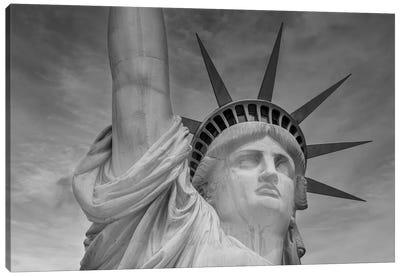 New York City Statue Of Liberty | Monochrome Canvas Art Print