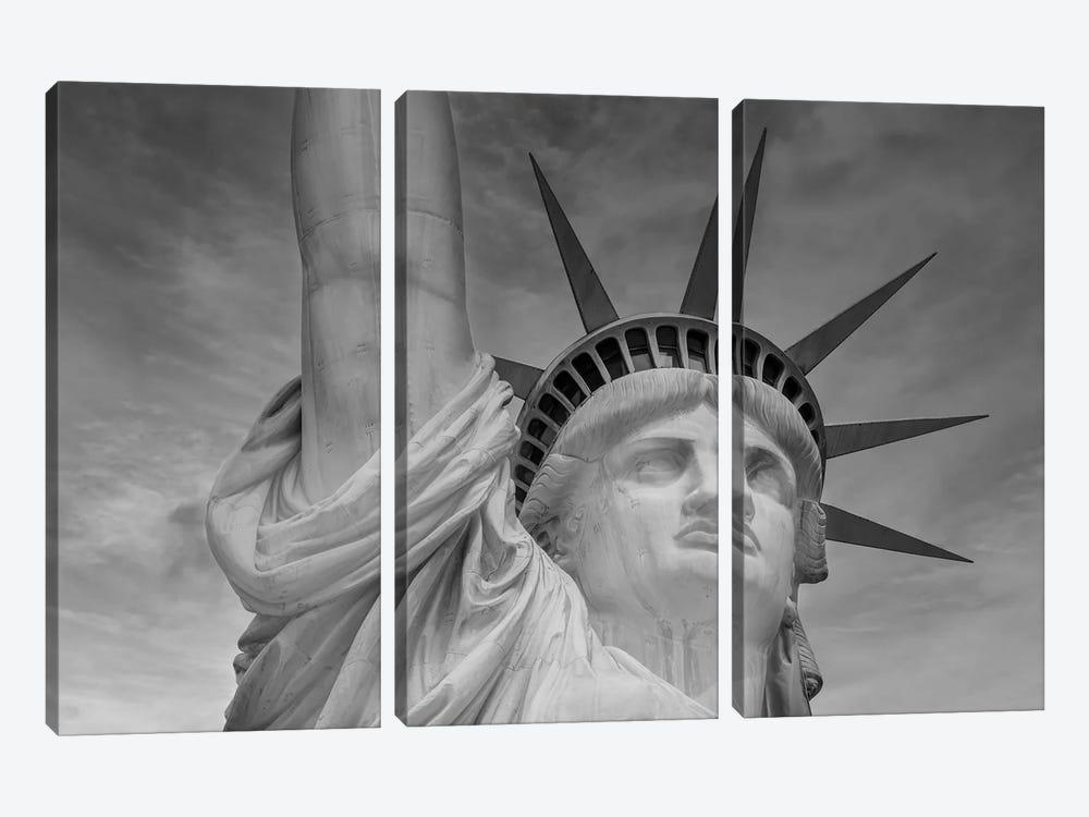 New York City Statue Of Liberty | Monochrome by Melanie Viola 3-piece Canvas Art Print