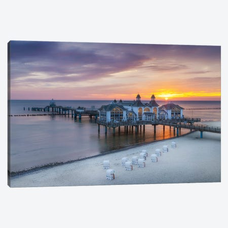Baltic Sea Sellin Pier During Sunrise Canvas Print #MEV602} by Melanie Viola Canvas Art