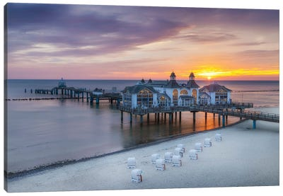 Baltic Sea Sellin Pier During Sunrise Canvas Art Print