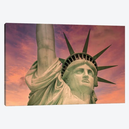 NYC Statue Of Liberty At Sunset Canvas Print #MEV605} by Melanie Viola Art Print