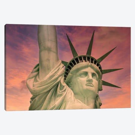NYC Statue Of Liberty At Sunset Canvas Print #MEV605} by Melanie Viola Art Print