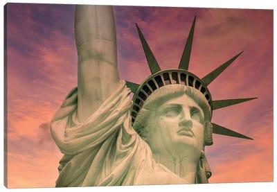 NYC Statue Of Liberty At Sunset Canvas Art Print