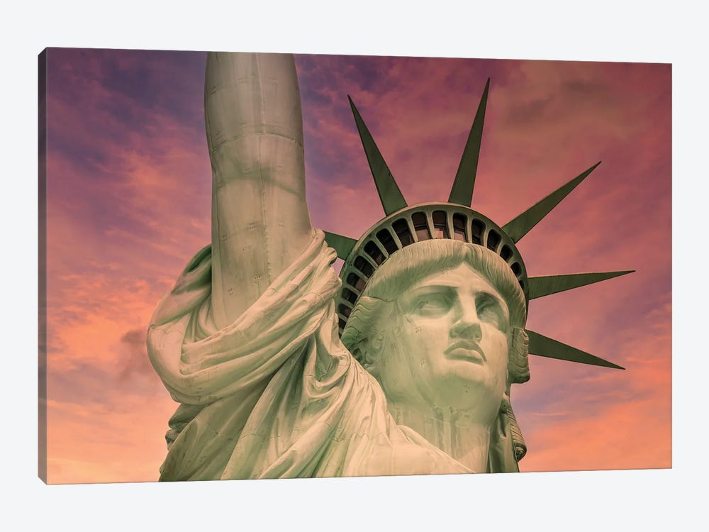 NYC Statue Of Liberty At Sunset by Melanie Viola 1-piece Canvas Art Print