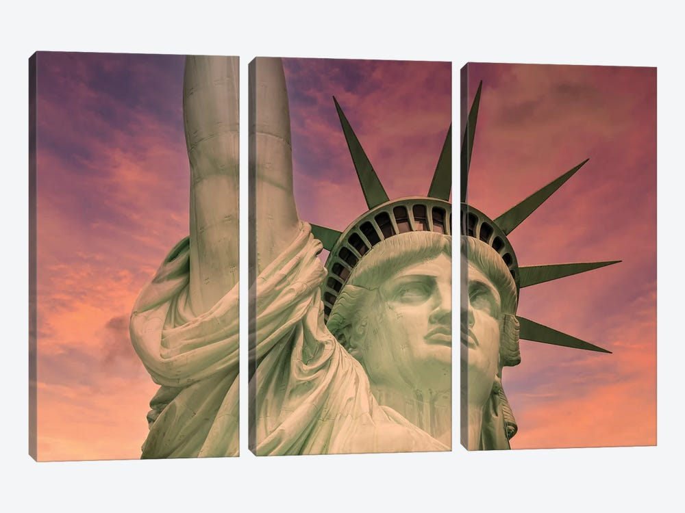 NYC Statue Of Liberty At Sunset by Melanie Viola 3-piece Art Print