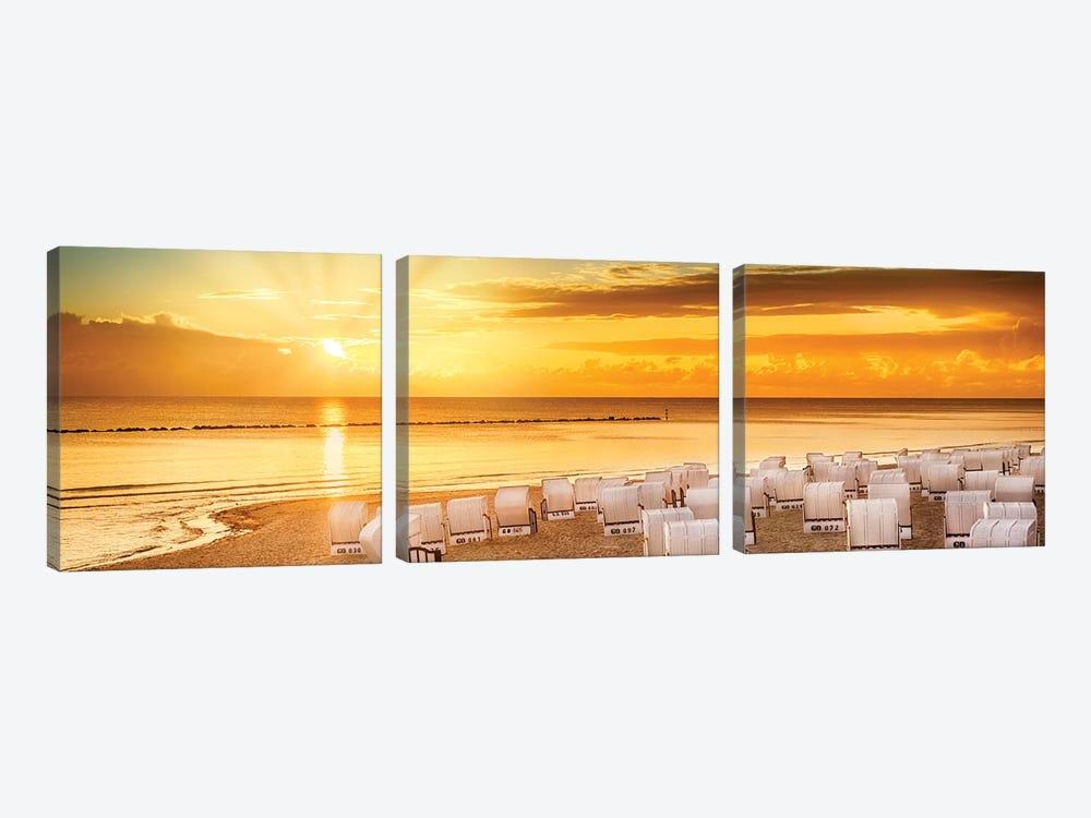 Baltic Sea Sunrise | Panoramic View by Melanie Viola 3-piece Canvas Art Print
