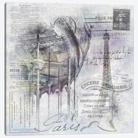Paris Collage   Eiffel Tower And Carousel Canvas Print #MEV608} by Melanie Viola Canvas Wall Art