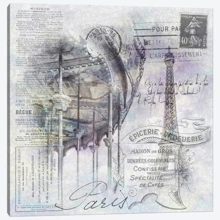Paris Collage | Eiffel Tower And Carousel Canvas Print #MEV608} by Melanie Viola Canvas Wall Art