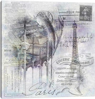 Paris Collage | Eiffel Tower And Carousel Canvas Art Print