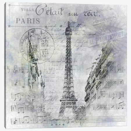 Paris Collage | Eiffel Tower Streetscene Canvas Print #MEV609} by Melanie Viola Canvas Art