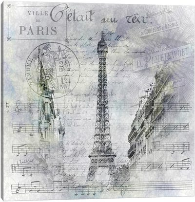 Paris Collage | Eiffel Tower Streetscene Canvas Art Print