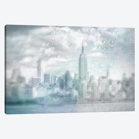 Midtown Manhattan Rainy Day   Dreamy Blue Canvas Print #MEV610} by Melanie Viola Canvas Art Print