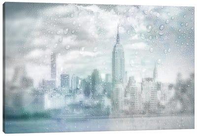 Midtown Manhattan Rainy Day | Dreamy Blue Canvas Art Print
