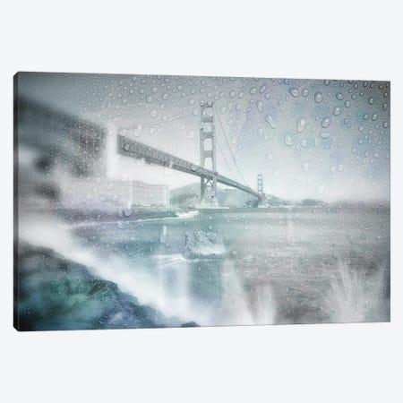 Golden Gate Bridge Rainy Day | Dreamy Blue Canvas Print #MEV611} by Melanie Viola Canvas Print