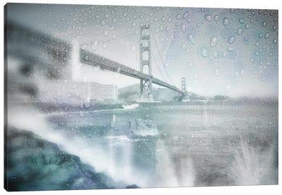 Golden Gate Bridge Rainy Day | Dreamy Blue Canvas Art Print