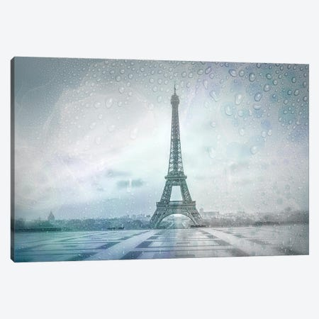 Eiffel Tower Rainy Day | Dreamy Blue Canvas Print #MEV612} by Melanie Viola Art Print