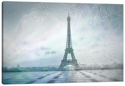 Eiffel Tower Rainy Day | Dreamy Blue Canvas Art Print
