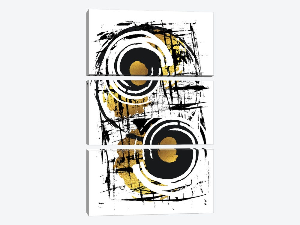 Abstract Painting XXXV | Gold 3-piece Canvas Wall Art