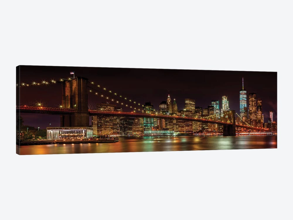 Manhattan Skyline & Brooklyn Bridge Idyllic Nightscape  by Melanie Viola 1-piece Canvas Print