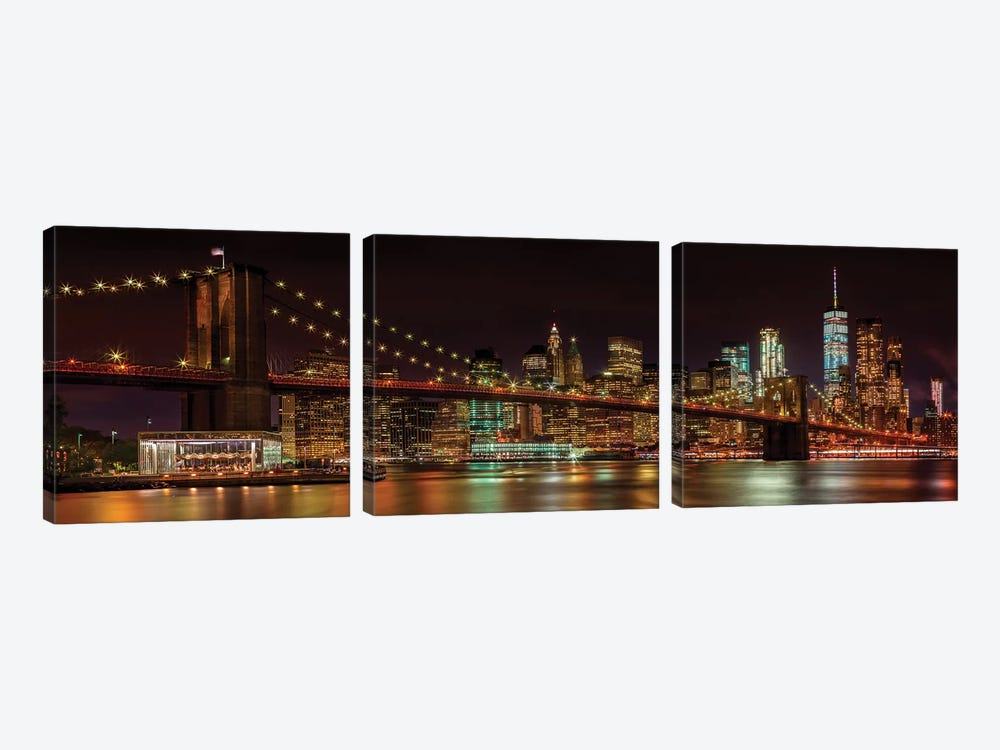 Manhattan Skyline & Brooklyn Bridge Idyllic Nightscape  by Melanie Viola 3-piece Art Print