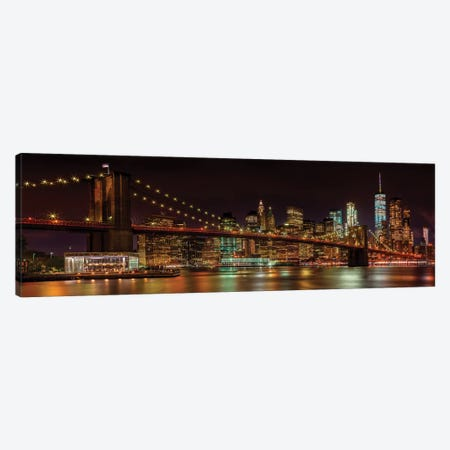 Manhattan Skyline & Brooklyn Bridge Idyllic Nightscape  3-Piece Canvas #MEV61} by Melanie Viola Canvas Artwork