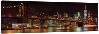 Manhattan Skyline & Brooklyn Bridge Idyllic Nightscape  Canvas Art Print