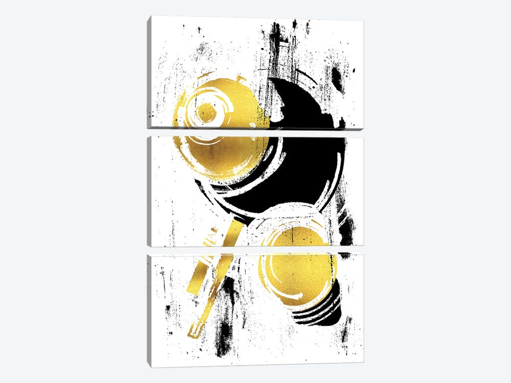 Abstract Painting XXXVIII | Gold by Melanie Viola 3-piece Canvas Art