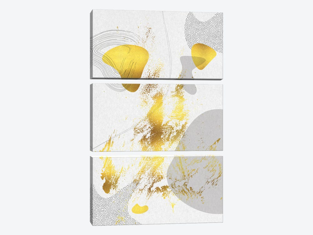 Mid-Century Vintage I | Gold 3-piece Canvas Print