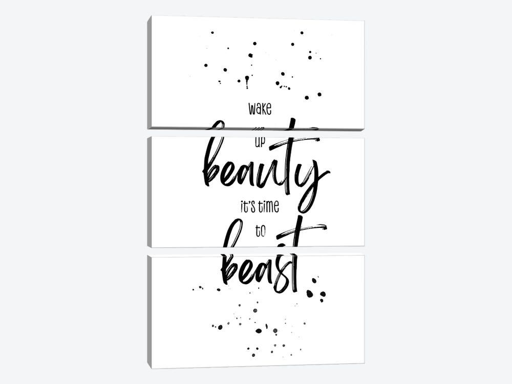 Wake Up Beauty It'S Time To Beast by Melanie Viola 3-piece Canvas Art