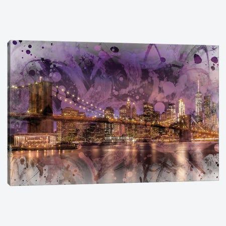 Modern Brooklyn Bridge Sunset Canvas Print #MEV64} by Melanie Viola Canvas Print