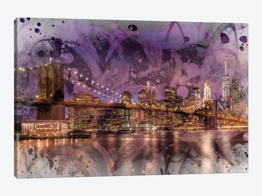 Modern Brooklyn Bridge Sunset by Melanie Viola 1-piece Canvas Art