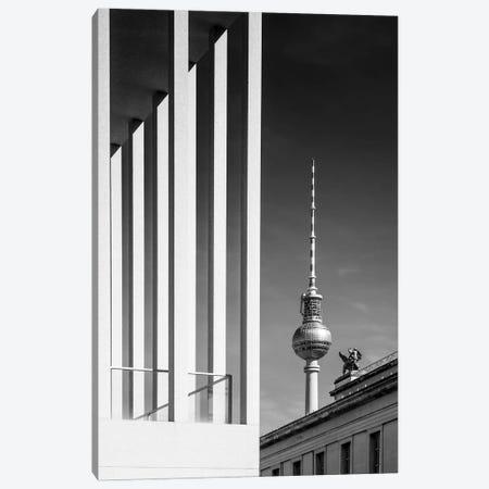 Berlin Monochrome Television Tower Canvas Print #MEV651} by Melanie Viola Art Print
