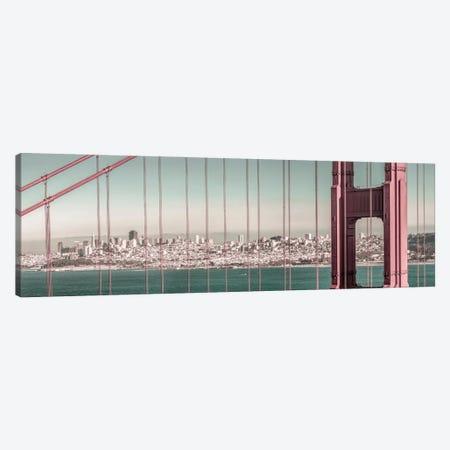 Golden Gate Bridge Panorama | Urban Vintage Style Canvas Print #MEV658} by Melanie Viola Canvas Print