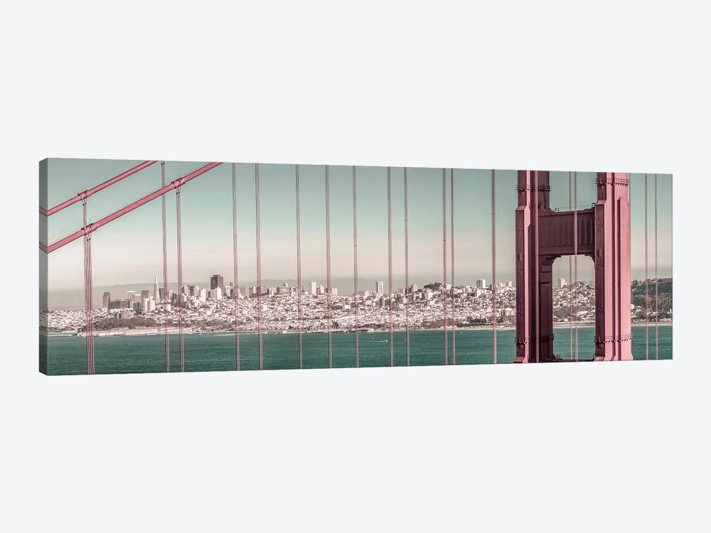 Golden Gate Bridge Panorama   Urban Vintage Style by Melanie Viola 1-piece Art Print