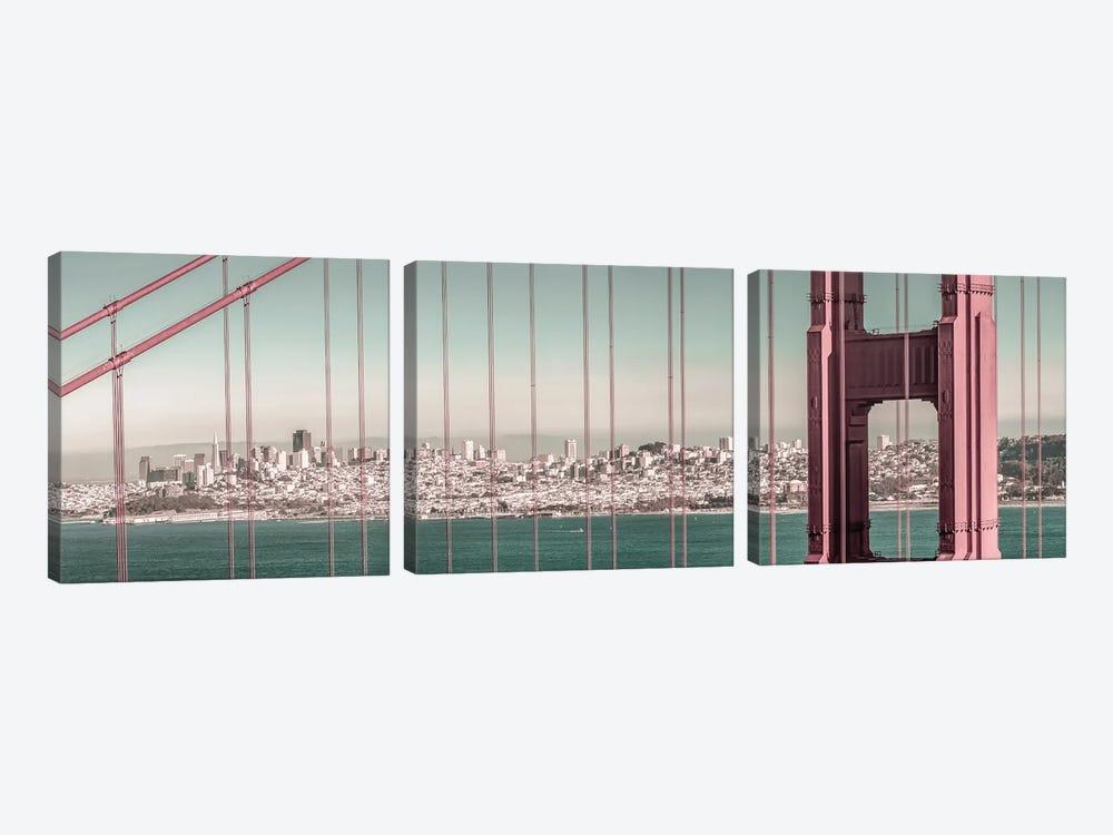 Golden Gate Bridge Panorama   Urban Vintage Style by Melanie Viola 3-piece Art Print
