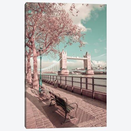 London Thames Riverside & Tower Bridge | Urban Vintage Style Canvas Print #MEV659} by Melanie Viola Canvas Print