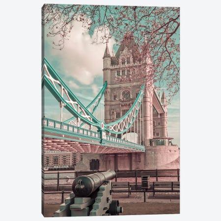 London Tower Bridge In Detail   Urban Vintage Style Canvas Print #MEV660} by Melanie Viola Canvas Artwork