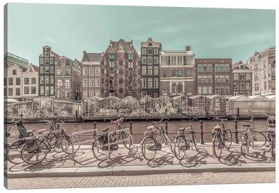 Amsterdam Singel Canal With Flower Market   Urban Vintage Style Canvas Art Print