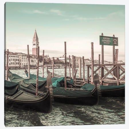 Venice Grand Canal And Gondolas | Urban Vintage Style Canvas Print #MEV665} by Melanie Viola Canvas Art Print
