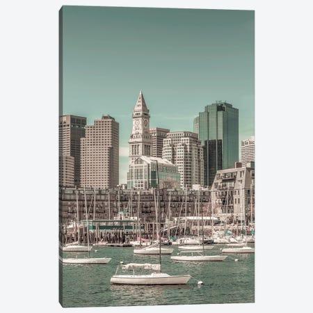 Boston Skyline North End & Financial District | Urban Vintage Style Canvas Print #MEV668} by Melanie Viola Canvas Art