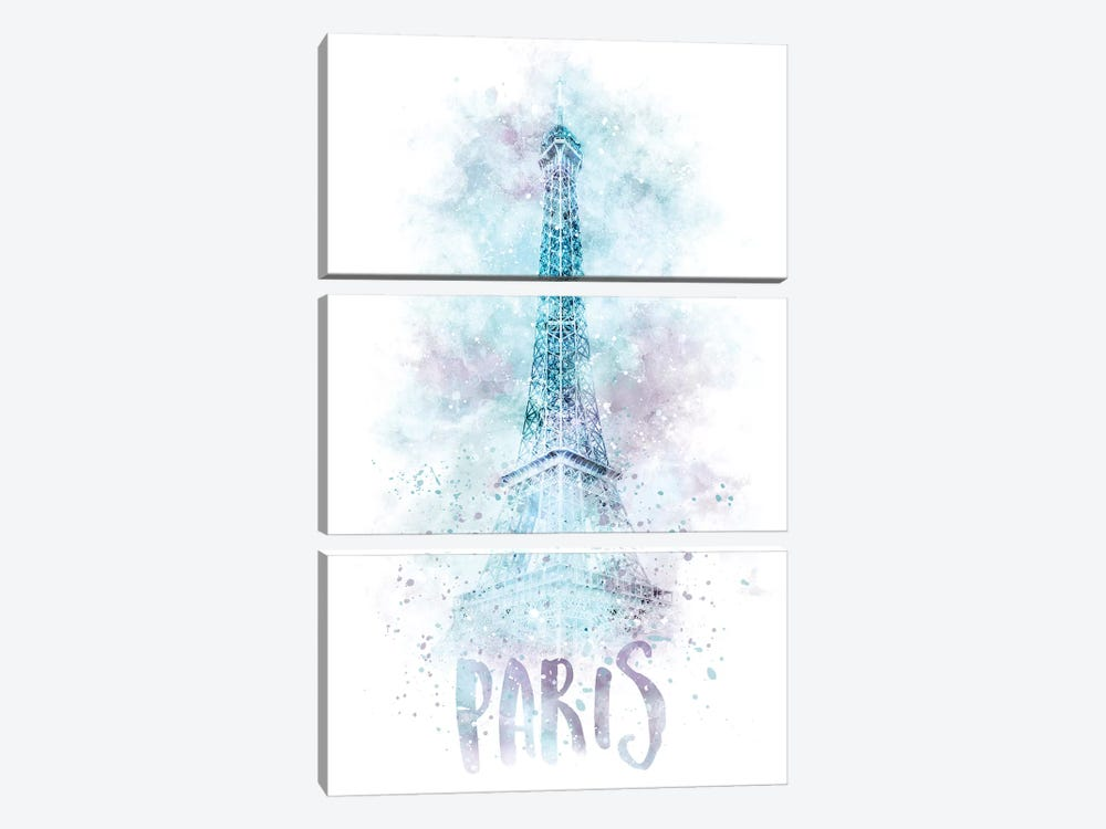 Modern Eiffel Tower  by Melanie Viola 3-piece Canvas Wall Art
