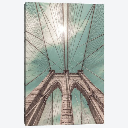 New York City Brooklyn Bridge In Detail | Urban Vintage Style Canvas Print #MEV679} by Melanie Viola Canvas Print