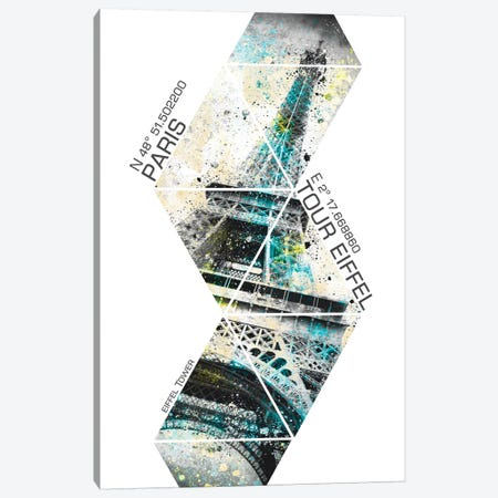 Modern Eiffel Tower Coordinates Canvas Print #MEV67} by Melanie Viola Canvas Art Print