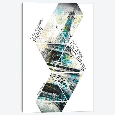 Modern Eiffel Tower Coordinates Canvas Print #MEV67} by Melanie Viola Canvas Art Print