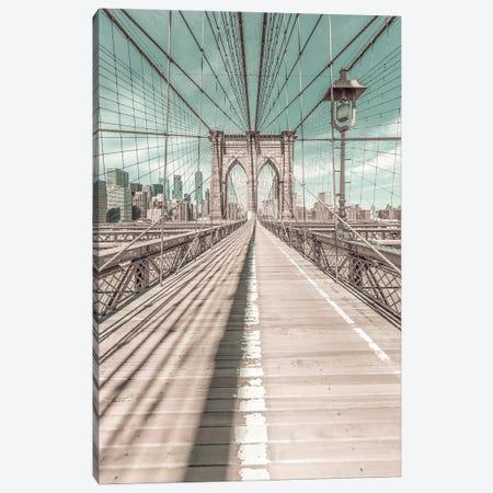 New York City Brooklyn Bridge | Urban Vintage Style Canvas Print #MEV680} by Melanie Viola Canvas Art