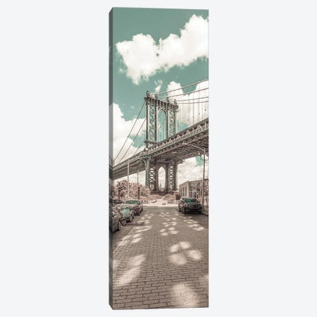 Nyc Manhattan Bridge Panorama | Urban Vintage Style Canvas Print #MEV691} by Melanie Viola Canvas Print