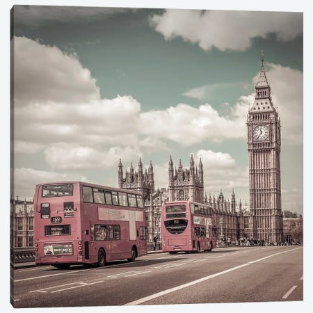 Typical London | Urban Vintage Style Canvas Print #MEV692} by Melanie Viola Art Print