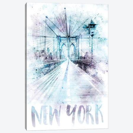 Modern NYC Brooklyn Bridge Canvas Print #MEV70} by Melanie Viola Canvas Art Print