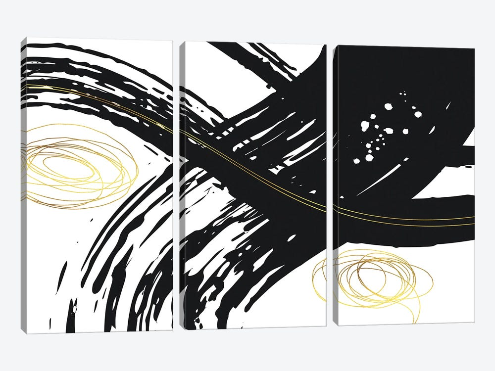 Abstract Painting No. 56 - Powerful Lines by Melanie Viola 3-piece Canvas Wall Art